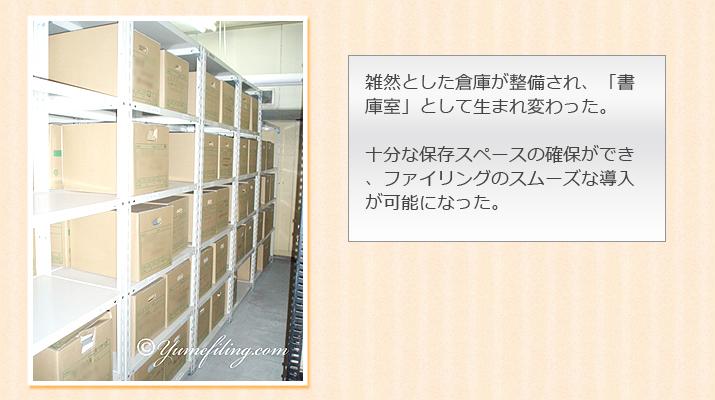 雑然とした倉庫が整備され、「書庫室」として生まれ変わった。十分な保存スペースの確保ができ、ファイリングのスムーズな導入が可能になった。